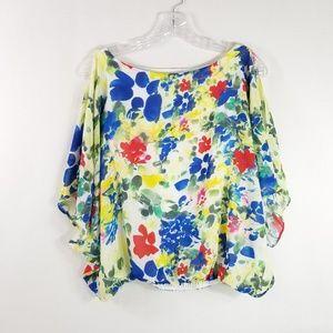 Alice Olivia XS Silk Cold Shoulder Floral Top 3647